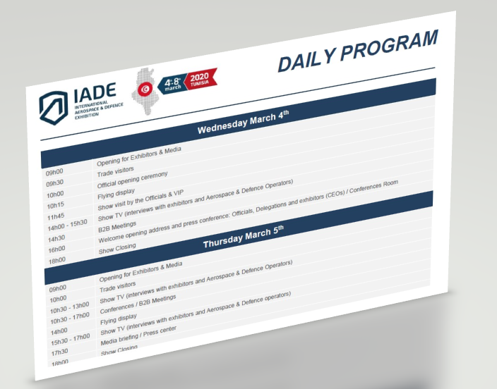 Daily program International Aerospace & Defence Exhibition